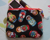 Make up pouches in RARE matryoshka babushka russian doll fabric