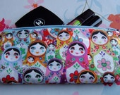Pouch or Pencil case made with babushka russian dolls fabric