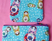 Set of 2 russian doll fabric zipper pouches