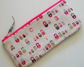 Pencil case or zipper pouch made with matryoshka russian dolls fabric