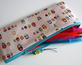 Matryoshka russian dolls cotton linen fabric pencil case