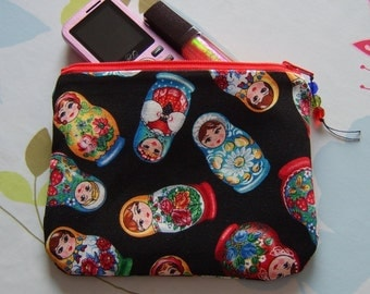 Make up pouch cosmetic bag in RARE matryoshka babushka russian doll fabric