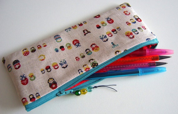 Matryoshka russian dolls cotton linen fabric pencil case