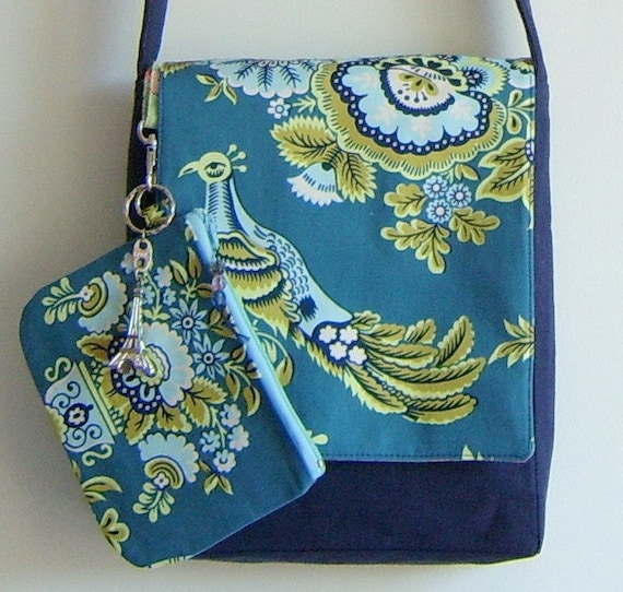 Peacock bird messenger bag and pouch git set in rare Amy Butler fabric