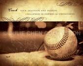 Personalized BASEBALL COACH Gift - Baseball Art - Baseball Coach Keepsake - Baseball Coach Thank You - Motivational Words - Sports