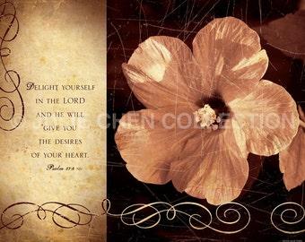 ScriptureWall Art - Christian Gift - Inspirational Wall Art - Bible Verse - Christian Wedding Gift - Heart's Desire - DELIGHT - Psalm 37