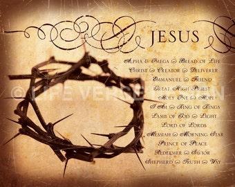 Names of Jesus - Christian Gift - Religious Home Decor - Church Decor - Scripture Artwork - Inspirational Art - Bible Verse - Christian Art