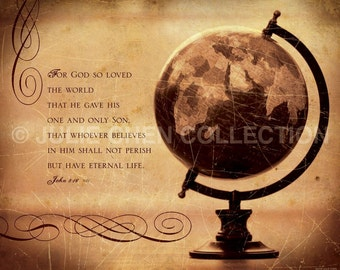 Scripture Art - Inspirational Art - Bible Verse Art - Christian Art - God So Loves the World - John 3 16 Artwork - Christian Home Decor