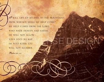 Psalm 121 art - Encouragement Gift - Christian Gift - Bible Verse - Scripture Wall Art - Psalms Artwork - Motivational Quote - LIFT MY EYES