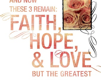 Christian Wedding Gift - Scripture Art - Inspirational Art - Bible Verse - LOVE NEVER FAILS - 1 Corinthians 13 - Contemporary Christian Art
