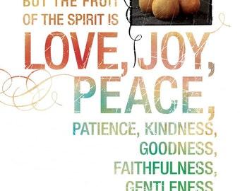 Scripture Art - Inspirational Art - Bible Verse Art - Chrisitan Gift - Kitchen Decor - FRUIT of the SPIRIT Galatians 5 Contemporary Style