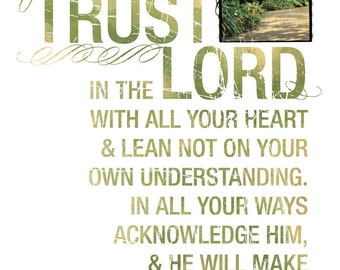 Contemporary Christian Art - Scripture Art - Bible Verse - Christian Gift - Religious Artwork - Inspiration - Trust in the Lord - Proverbs 3