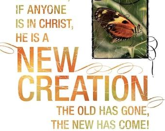 New Christian Gift - Scripture Art - NEW CREATION - 2 Corinthians 5