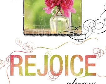 Contemporary Christian Art - Christian Gift - Encouragement Art - Inspirational Wall Art - Bible Verse - Philippians 4 - REJOICE Always