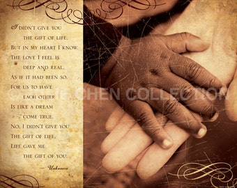 Adoption Gift - Adoption Poem Photo (Black and White Hands) - Adoption Keepsake - Adoption Home Decor - Adoption Quote