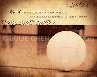 Personalized Volleyball Coach Gift - Volleyball Art - Coach Art - Sports - Athletics - Coach Keepsake - Coach Retirement Gift - Team Gift
