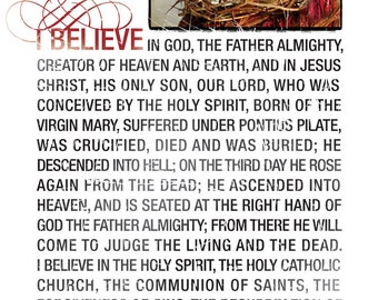 THE APOSTLES CREED - Religious Gift - Christian Quote - Church Decor - Christian Artwork - Religious Art - Famous Quote - Church prayer