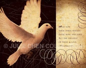 Scripture Artwork - Inspirational Art - Bible Verse Art - Religious Wedding Gift - Christian Artt - FAITH HOPE LOVE - 1 Corinthians 13 Art