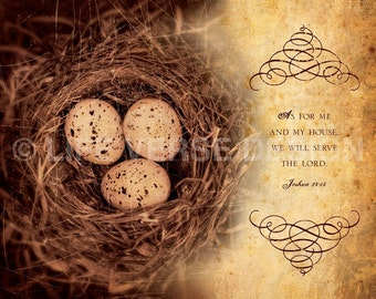 Christian Gift - Bible Art - Housewarming Gift - MY HOUSE - Joshua 24 - Nest Photo