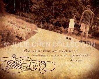 Bible Verse - Scripture Wall Art - Inspirational Wall Art - Father's Day Gift - Spiritual - Christian Art - TRAIN a CHILD - Proverbs  22