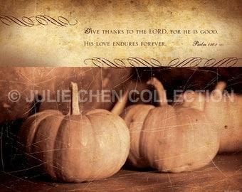 Thanksgiving Bible Art - Christian Thanksgiving Decor - GIVE THANKS - Psalm 136 - Pumpkin Photograph