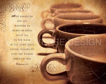 Coffee Shop Decor - Scripture Art - Inspirational Art - Bible Verse Art - Christian Art  - ATTITUDE - Colossians 3 - Christian Kitchen Decor