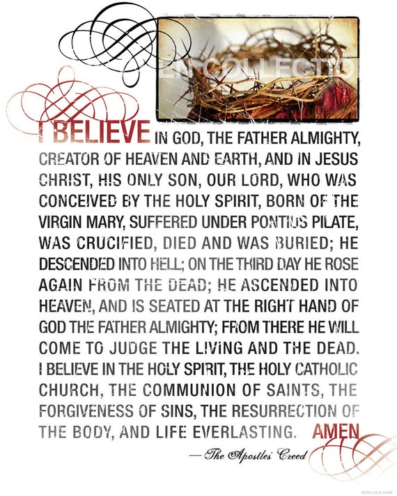 THE APOSTLES CREED Religious Gift Christian Quote Church