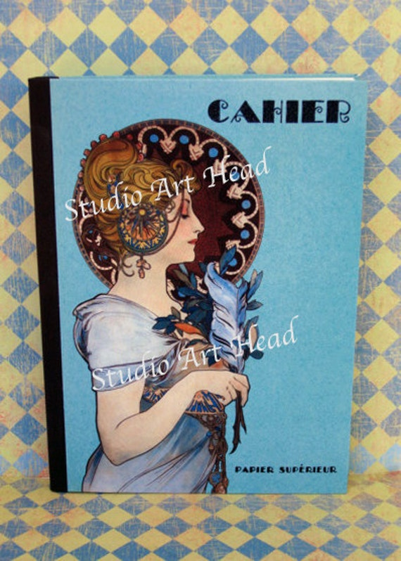 Alphonse Mucha Art Deco Blank Lined Journal