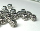 Small 5mm Patterned Round Bali Style Fine Silver Plated Pewter Beads - Lead Free - 22 pieces