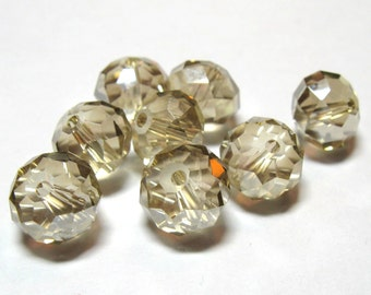 Pale Luster Golden Champagne Crystal Rondelle Beads 10mm x 8mm (Qty 8)