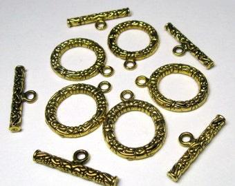 Large Gold Plated Pewter Tibetan Style Toggle Clasps Lead Free - FIVE (5) complete Sets