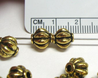 8mm Corrugated Melon Gold Plated Plated Pewter Beads - Lead Free -  14 pieces