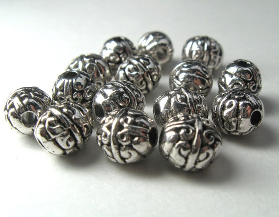 Reserved for Michelle B - Patterned Oval 8mm by 7mm Bali Style Fine Silver Plated Pewter Beads - Lead Free - 40 pieces