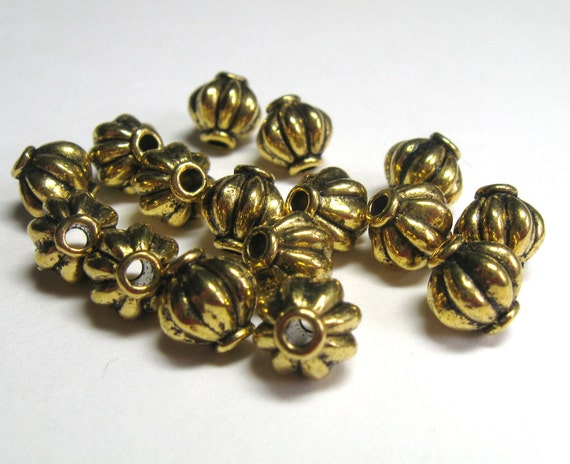 8mm Corrugated Melon Gold Plated Plated Pewter Beads - Lead Free -  32 pieces