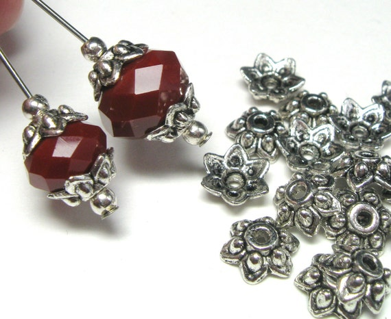 Fine Silver Plated Antiqued Pewter Bali Style Star Shaped 9mm Bead Caps - Lead Free - 24 pieces
