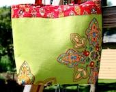 Green and Deep Red Handbag Purse with Ethnic Embroidery and Bead Work. Christmas Gift.