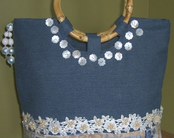Blue denim and lace handbag, bag, purse, tote with mother of pearl flowers