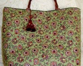 Dark Olive Green Handbag Purse with Brown Motifs and Copper Sequence Work