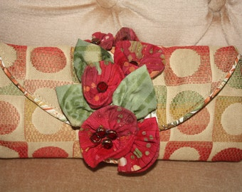 Handmade Floral Purse Clutch Bag with Fabric Folded Flowers in Reds, Rusts and Browns.