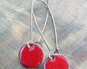 Red Dangle Earrings, Copper Enamel Jewelry, Nickel Free Kidney Earwires, Perfect red, Holiday Red Handmade Earrings