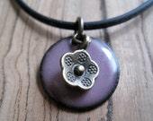 Purple Enamel Necklace, Enamel Flower Necklace, Copper Enamel Jewelry, Aubergine Necklace, Orchid Purple Jewelry