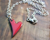 valentine gift for mom, valentine gift for wife Heart Necklace, Enamel Heart Jewelry, Ruby Red Heart Pendant, Copper Enamel Jewelry