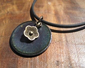 Purple Enamel Necklace, Enamel Flower Necklace, Copper Enamel Jewelry, Purple Necklace, Purple Jewelry