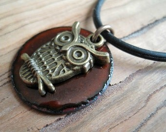 Owl on Chestnut Brown Copper Enamel pendant necklace
