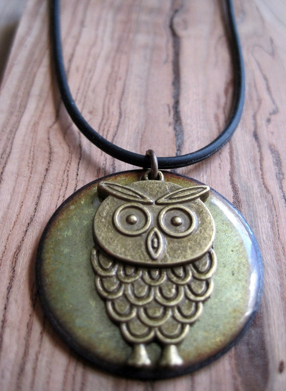 Owl Jewelry, Enamel Owl Necklace, Olive Green Pendant, Moss Green Enamel Jewelry, Woodland Jewelry