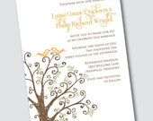 Wedding Invitation Laine - Tree and Birds with or without leaves - Sample Available