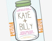Wedding Invitation Mason Jar Kate - Sample Available