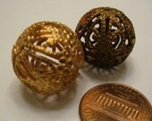 Vintage Filigree Beads, 1950s Large Round High Quality Unplated Raw Brass Jewelry Findings, 18mm, 2 pcs.