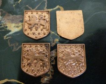 Vintage Heraldic Shield or Coat of Arms, 1960s Renaissance Style Lion Jewelry Findings, Ren Faire Costume Accessories, 13x11mm, 6 pcs. (C18)