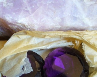 1 Large Amethyst Faceted Glass Jewel Germany, 31mm, 1 pc